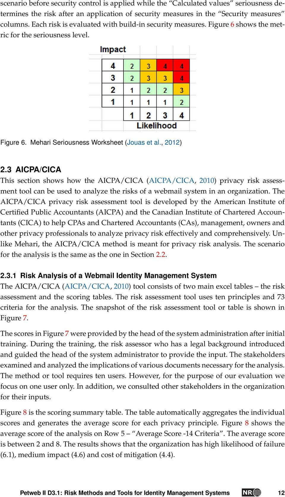3 AICPA/CICA This section shows how the AICPA/CICA (AICPA/CICA, 2010) privacy risk assessment tool can be used to analyze the risks of a webmail system in an organization.