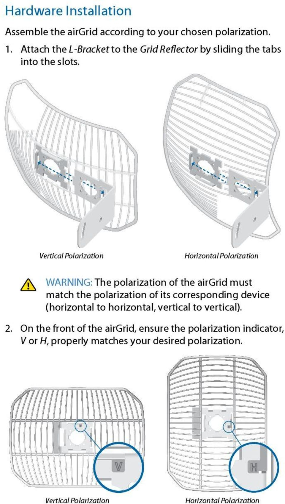 Vertical Polarization Horizontal Polarization WARNING: The polarization of the airgrid must match the polarization of its