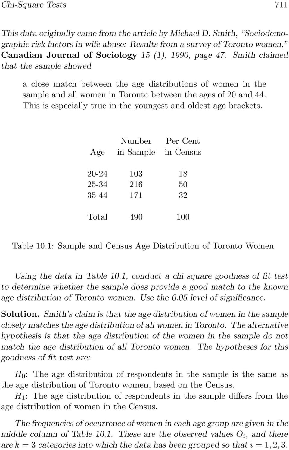 Smith claimed that the sample showed a close match between the age distributions of women in the sample and all women in Toronto between the ages of 20 and 44.