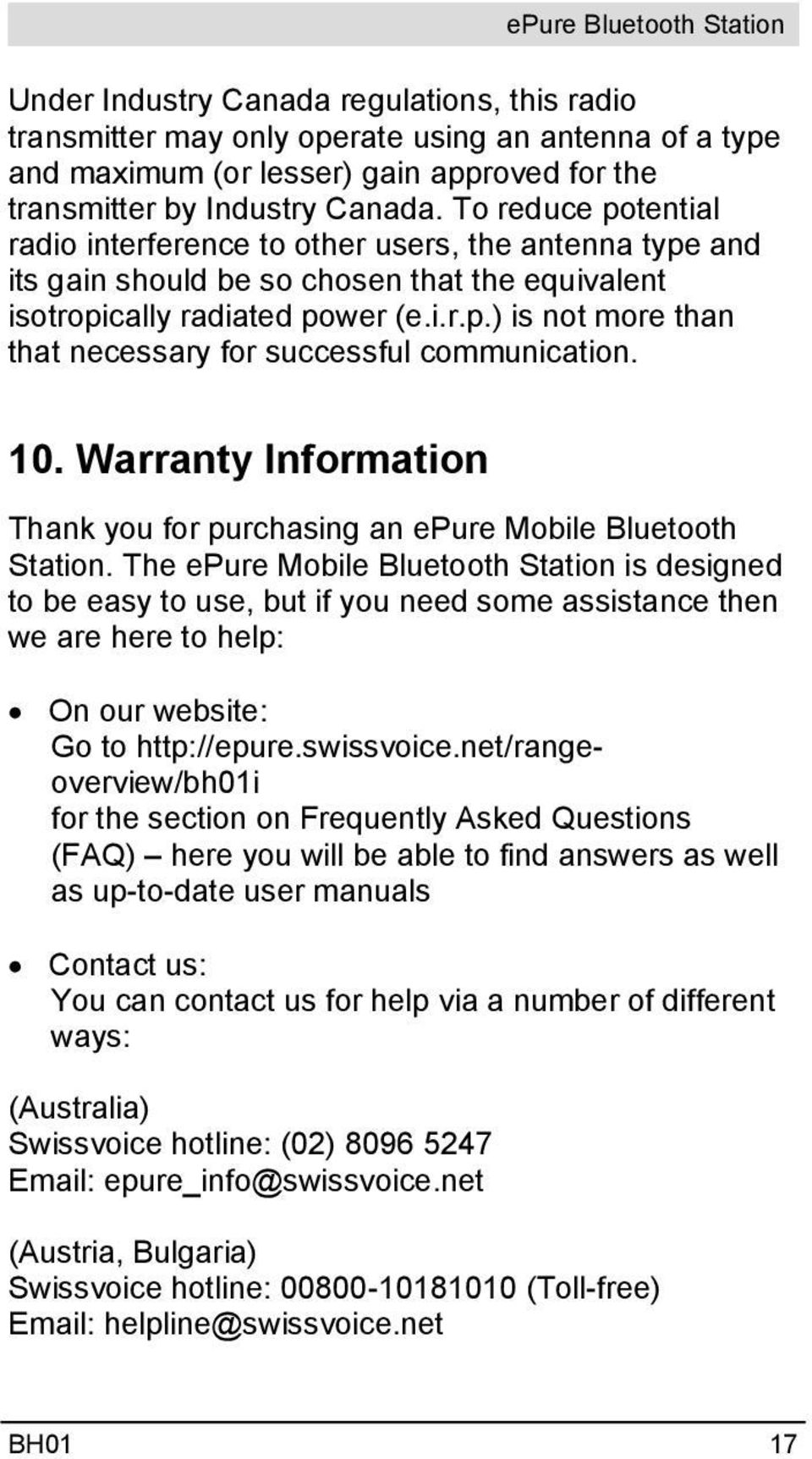 10. Warranty Information Thank you for purchasing an epure Mobile Bluetooth Station.
