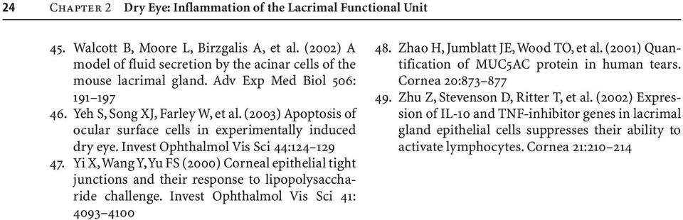 Yi X,Wang Y,Yu FS (2000) Corneal epithelial tight junctions and their response to lipopolysaccharide challenge. Invest Ophthalmol Vis Sci 41: 4093 4100 48. Zhao H, Jumblatt JE,Wood TO, et al.
