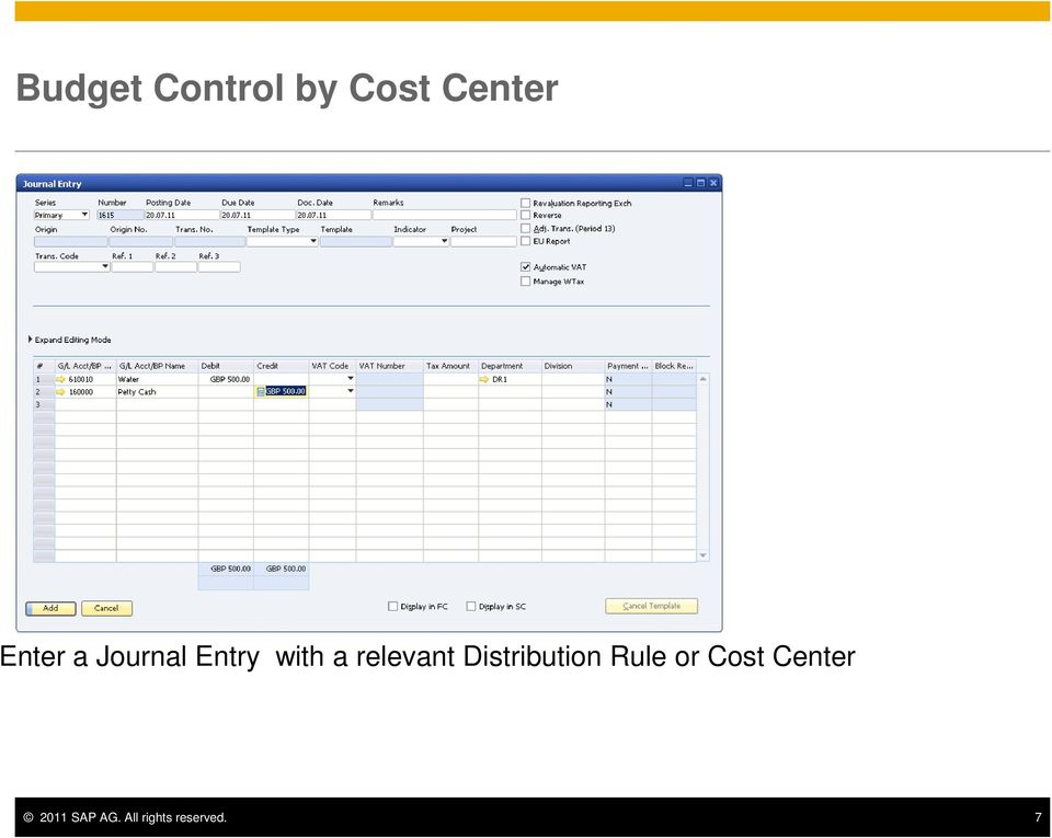 Rule or Cost Center 2011