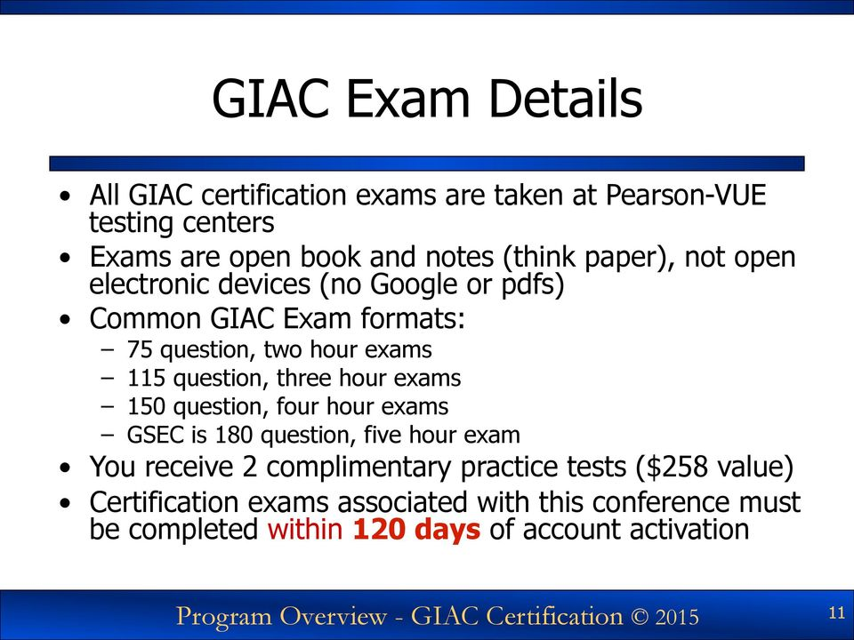 150 question, four hour exams GSEC is 180 question, five hour exam You receive 2 complimentary practice tests ($258 value)