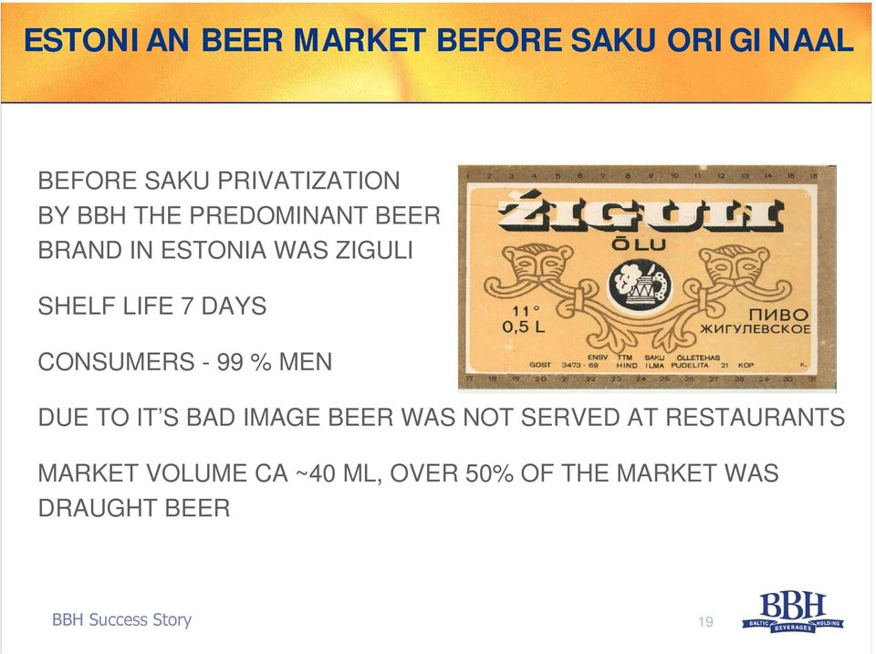 - 99 % MEN DUE TO IT S BAD IMAGE BEER WAS NOT SERVED AT RESTAURANTS MARKET