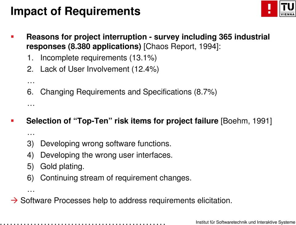 Changing Requirements and Specifications (8.