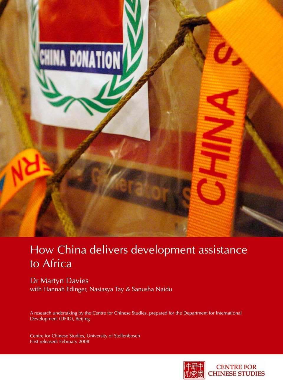 Chinese Studies, prepared for the Department for International Development (DFID),