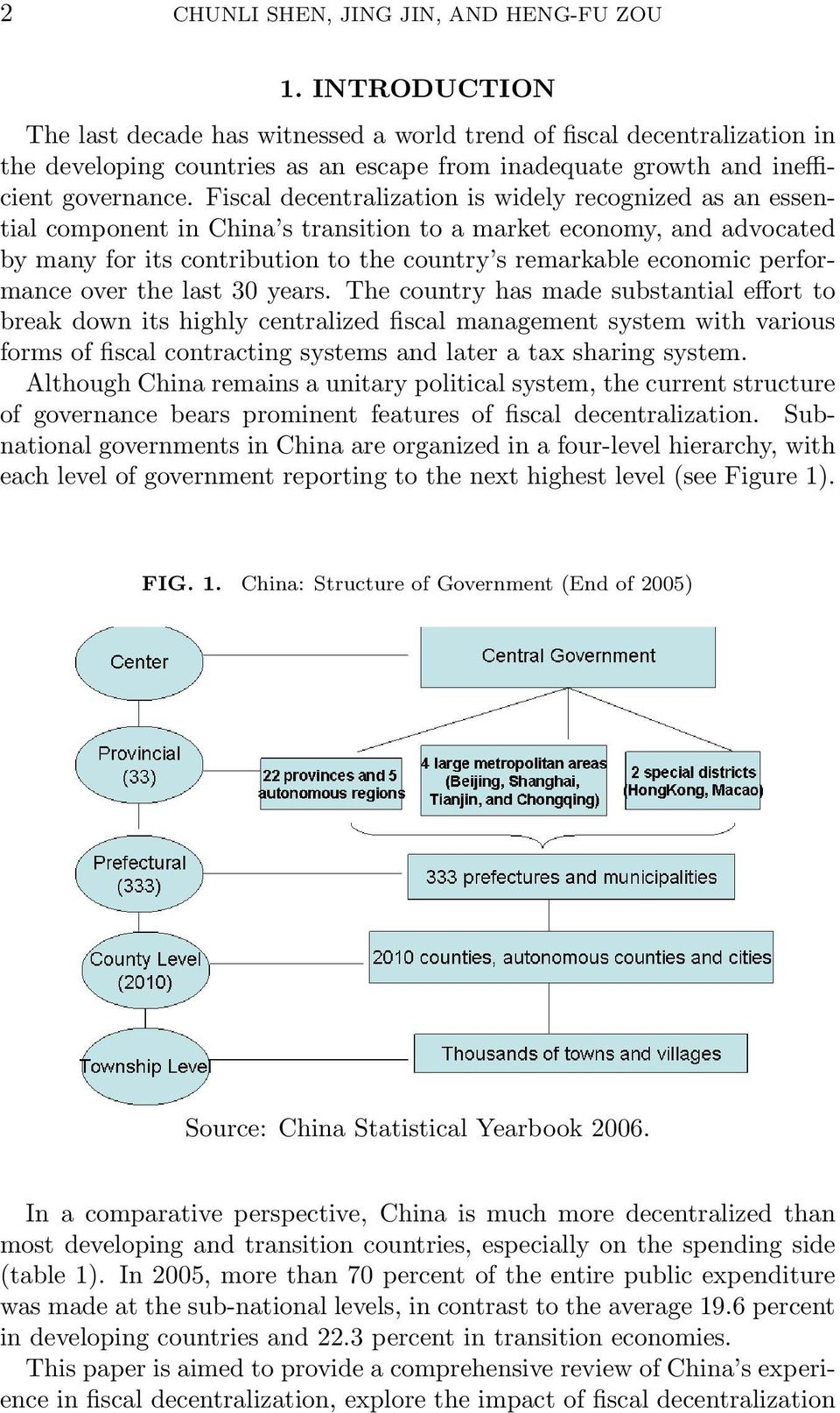 Fiscal decentralization is widely recognized as an essential component in China s transition to a market economy, and advocated by many for its contribution to the country s remarkable economic