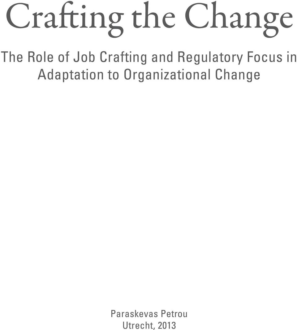 in Adaptation to Organizational