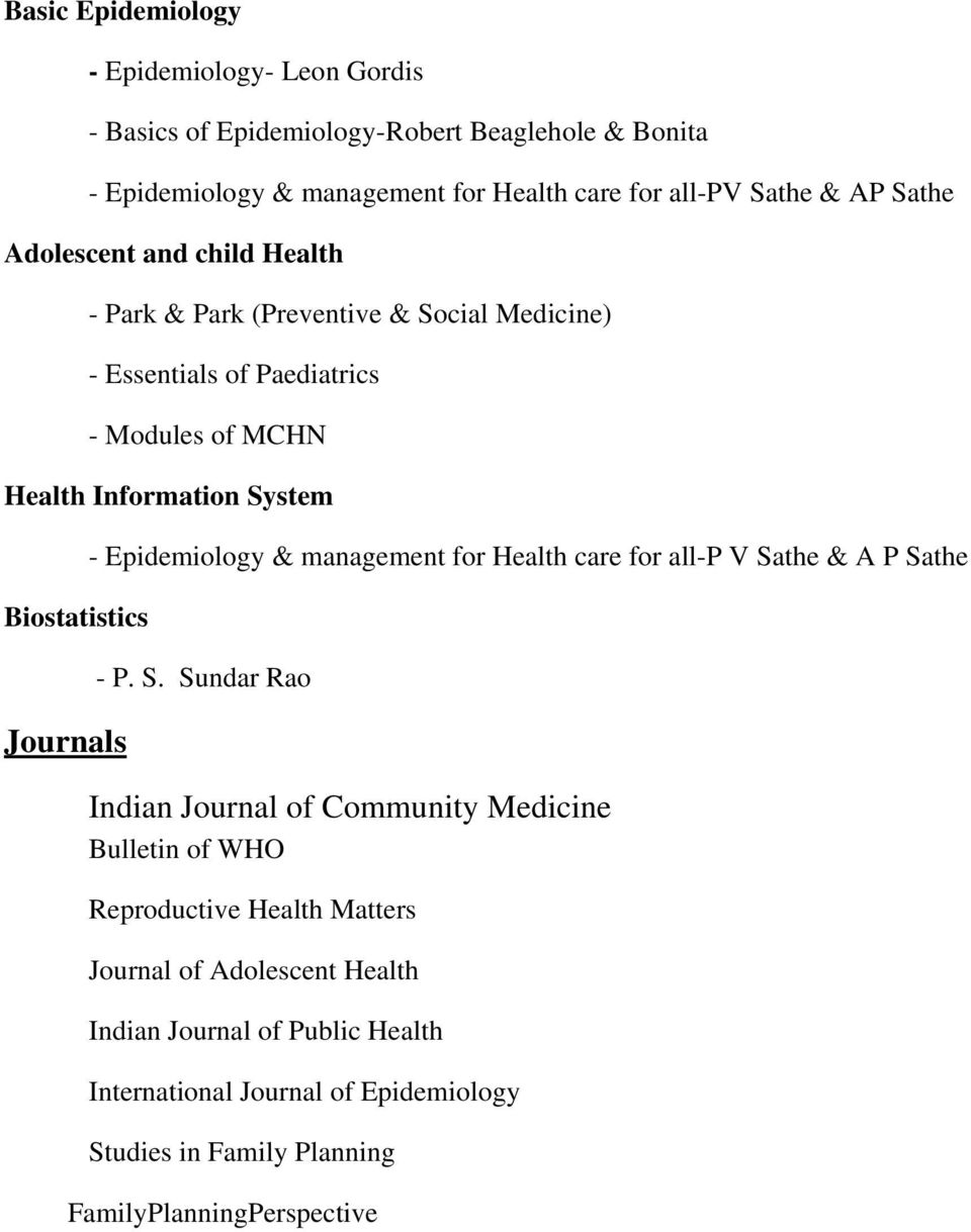 Journals - Epidemiology & management for Health care for all-p V Sa