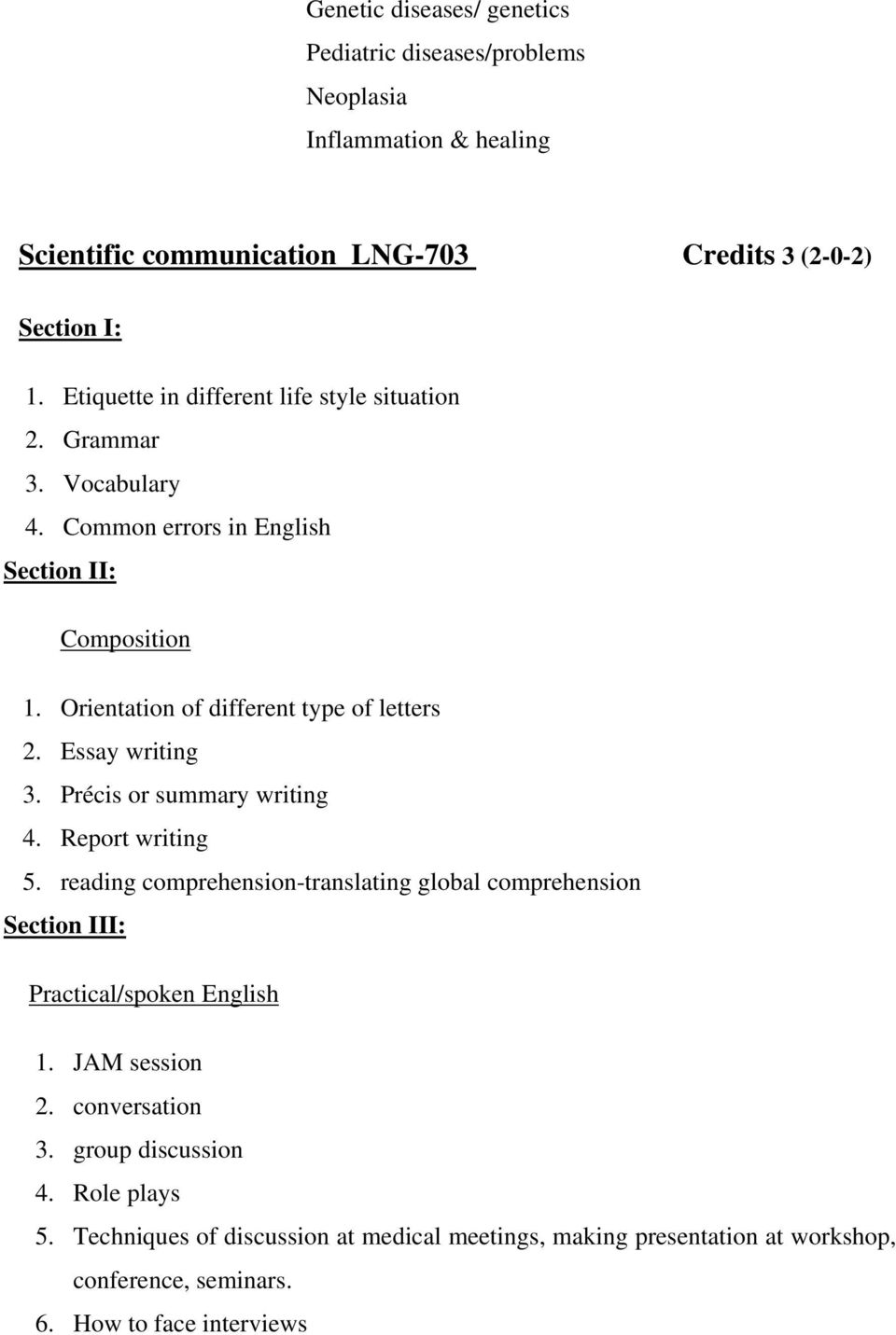 Essay writing 3. Précis or summary writing 4. Report writing 5. reading comprehension-translating global comprehension Section III: Practical/spoken English 1.