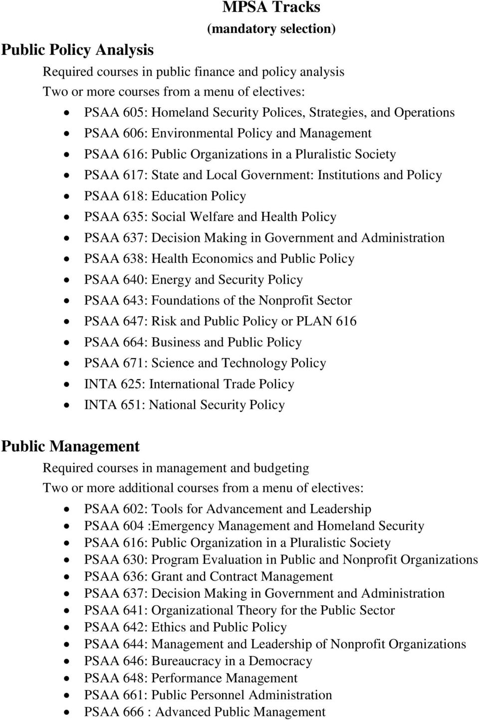 618: Education Policy PSAA 635: Social Welfare and Health Policy PSAA 637: Decision Making in Government and Administration PSAA 638: Health Economics and Public Policy PSAA 640: Energy and Security