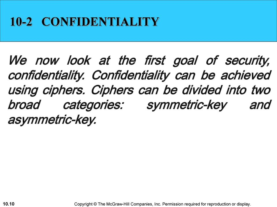 Confidentiality can be achieved using ciphers.