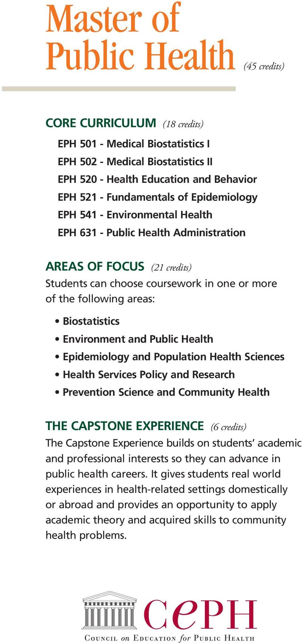 Environment and Public Health Epidemiology and Population Health Sciences Health Services Policy and Research Prevention Science and Community Health THE CAPSTONE EXPERIENCE (6 credits) The Capstone