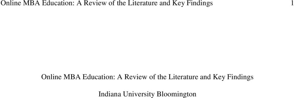 Literature and Key Findings Indiana