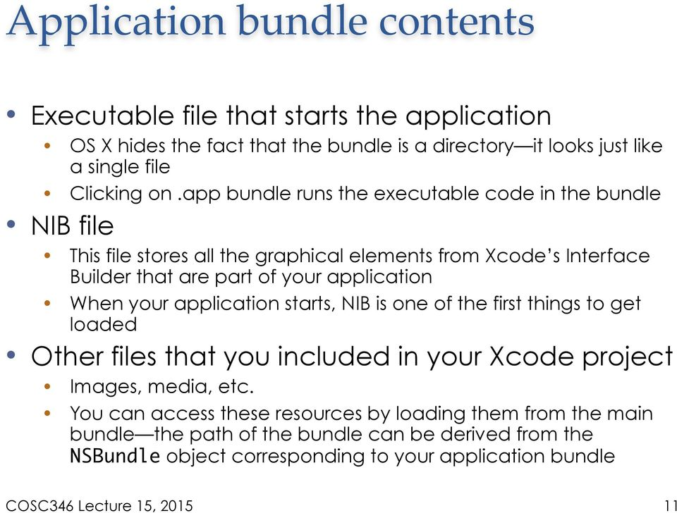 application When your application starts, NIB is one of the first things to get loaded Other files that you included in your Xcode project Images, media, etc.