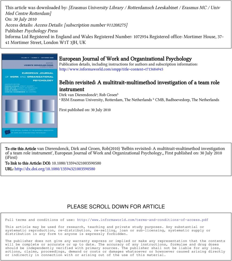 Journal of Work and Organizational Psychology Publication details, including instructions for authors and subscription information: http://www.informaworld.