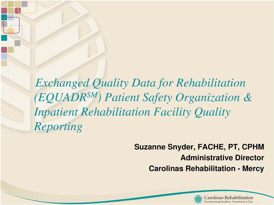 Facility Quality Reporting Suzanne Snyder, FACHE, PT,