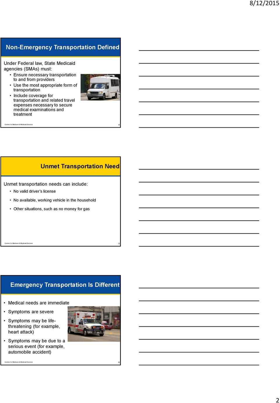 transportation needs can include: No valid driver s license No available, working vehicle in the household Other situations, such as no money for gas Centers for Medicare & Medicaid Services 5