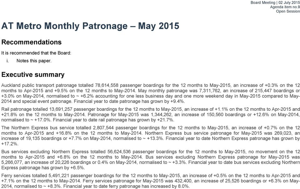 5% on the 12 months to May-2014. May monthly patronage was 7,311,762, an increase of 215,447 boardings or +3.0% on May-2014, normalised to ~ +6.