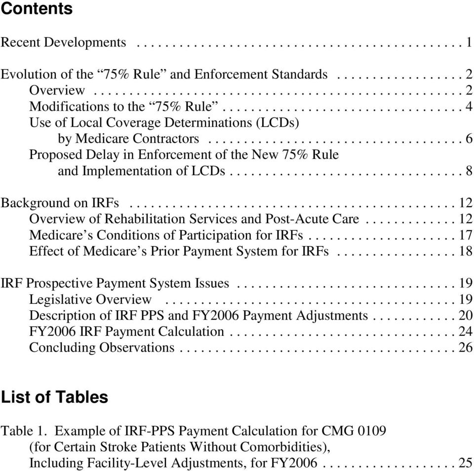 ..12 Overview of Rehabilitation Services and Post-Acute Care...12 Medicare s Conditions of Participation for IRFs...17 Effect of Medicare s Prior Payment System for IRFs.