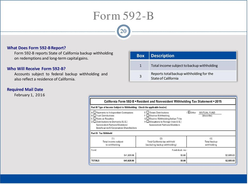 Who Will Receive Form 592-B?