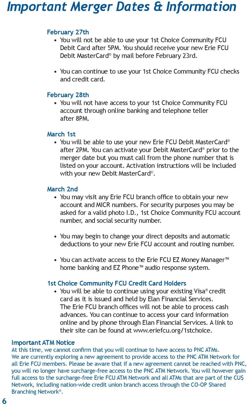 welcome to the erie federal credit union family important account