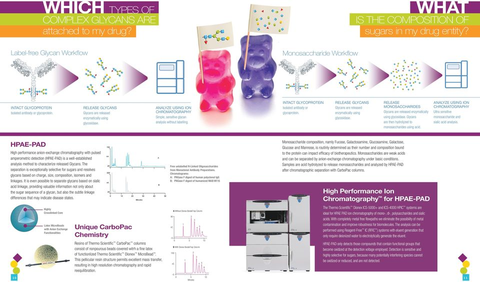 High performance anion-exchange chromatography with pulsed amperometric detection (HPAE-PAD) is a well-established analysis method to characterize released Glycans.