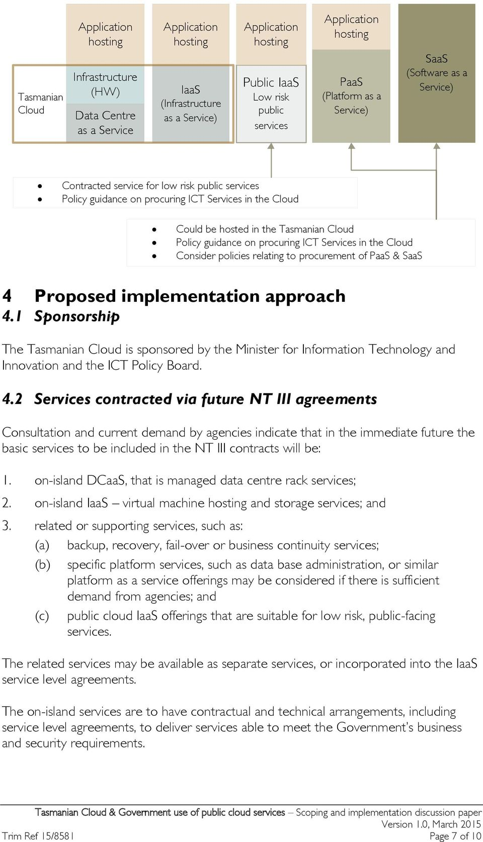 the Tasmanian Cloud Policy guidance on procuring ICT Services in the Cloud Consider policies relating to procurement of PaaS & SaaS 4 Proposed implementation approach 4.