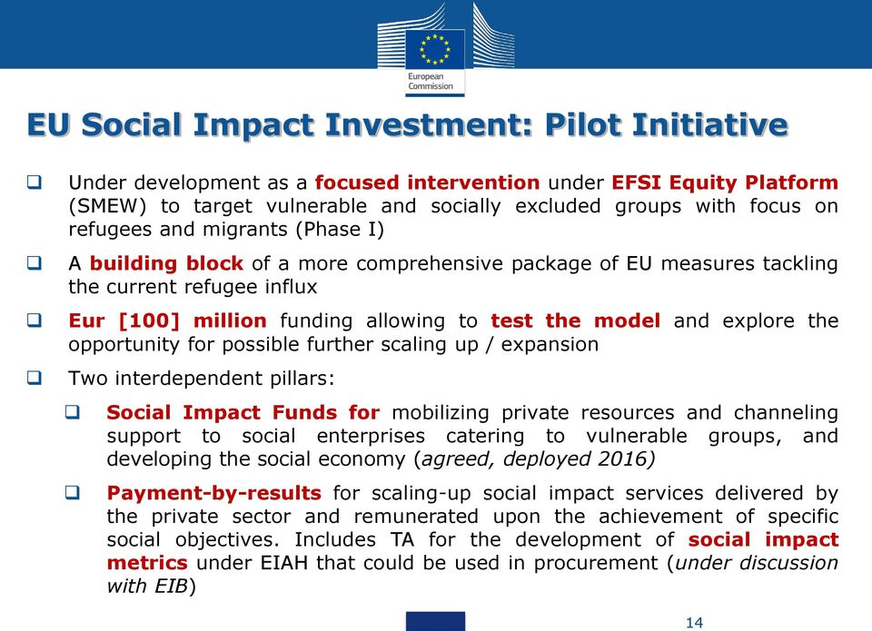 opportunity for possible further scaling up / expansion Two interdependent pillars: Social Impact Funds for mobilizing private resources and channeling support to social enterprises catering to