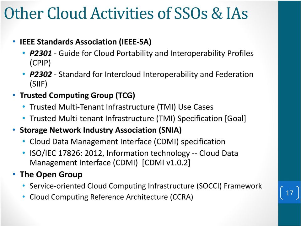 (TMI) Specification [Goal] Storage Network Industry Association (SNIA) Cloud Data Management Interface (CDMI) specification ISO/IEC 17826: 2012, Information technology --