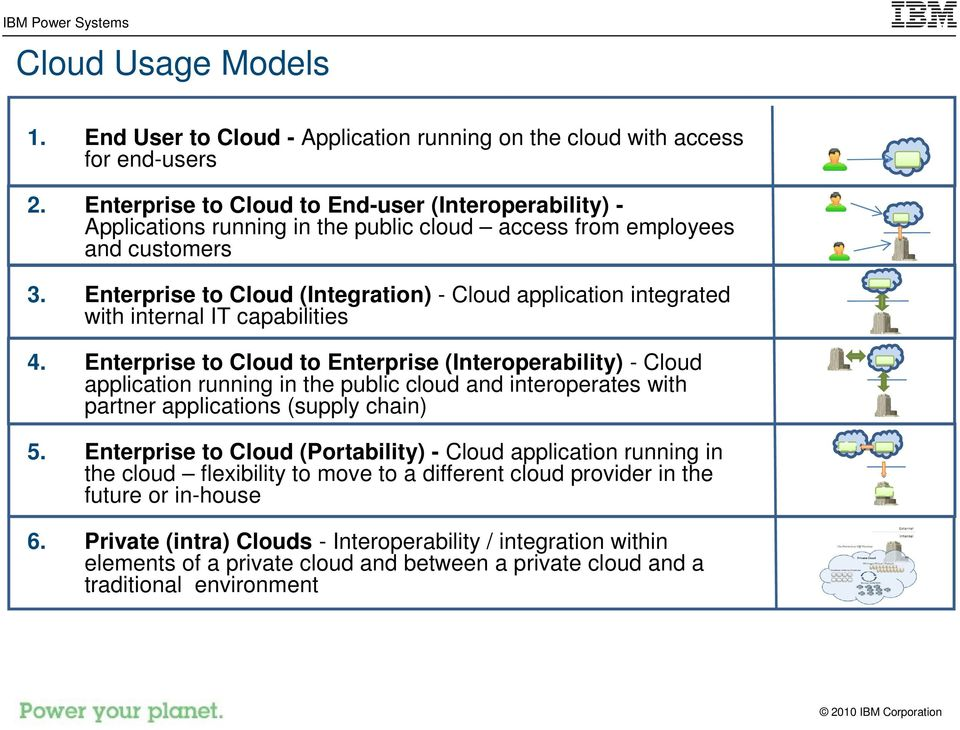 Enterprise to Cloud (Integration) - Cloud application integrated with internal IT capabilities 4.