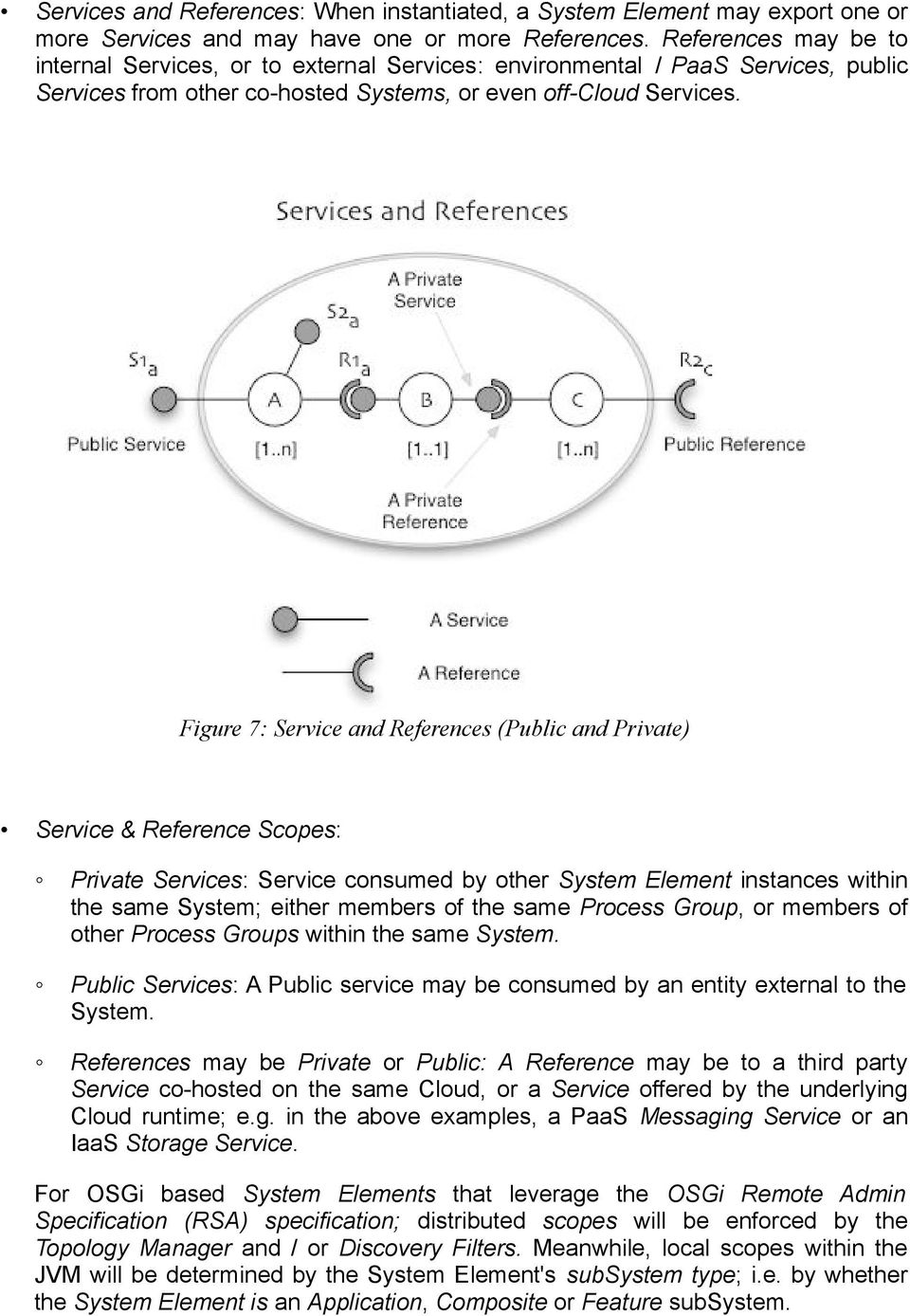 Figure 7: Service and References (Public and Private) Service & Reference Scopes: Private Services: Service consumed by other System Element instances within the same System; either members of the