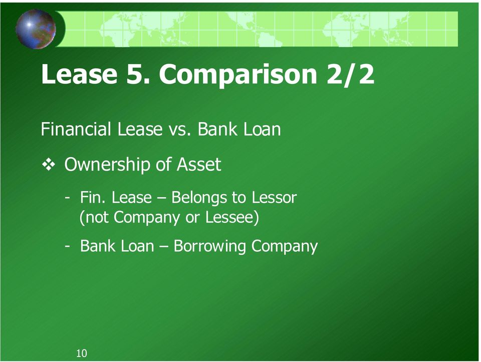 Bank Loan Ownership of Asset - Fin.
