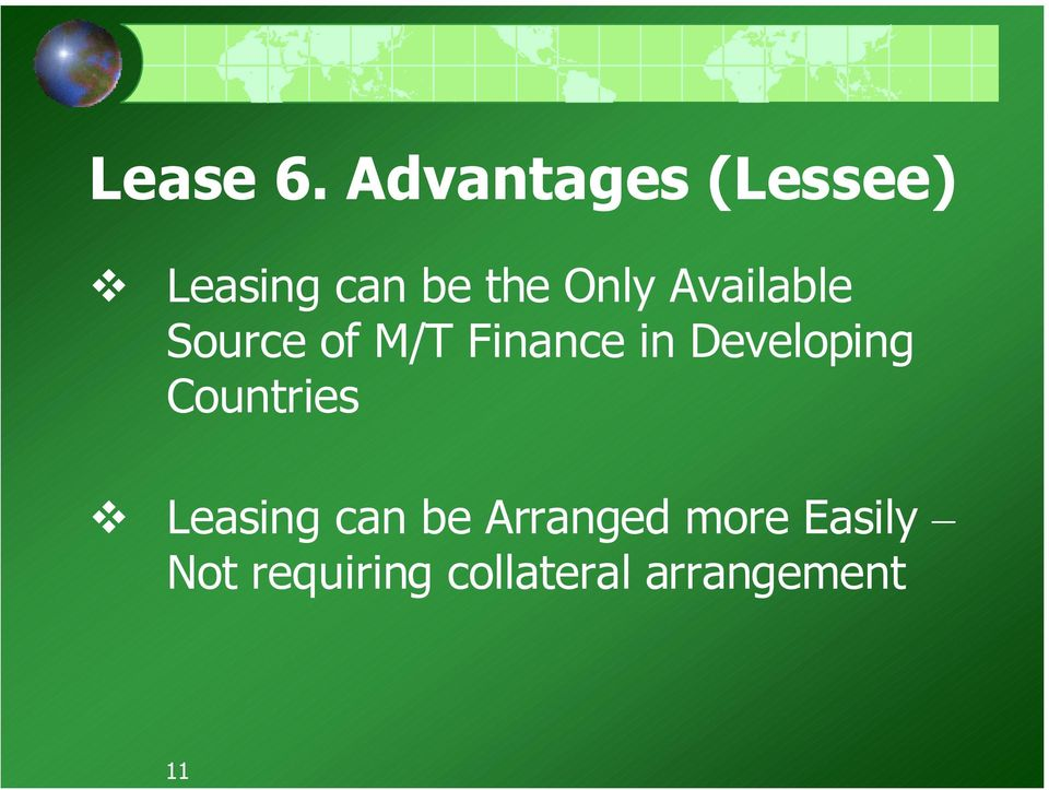 Available Source of M/T Finance in Developing