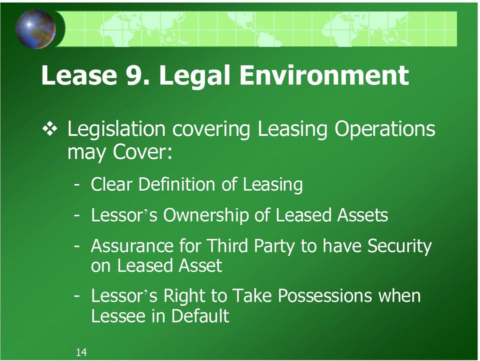Cover: - Clear Definition of Leasing - Lessor s Ownership of Leased