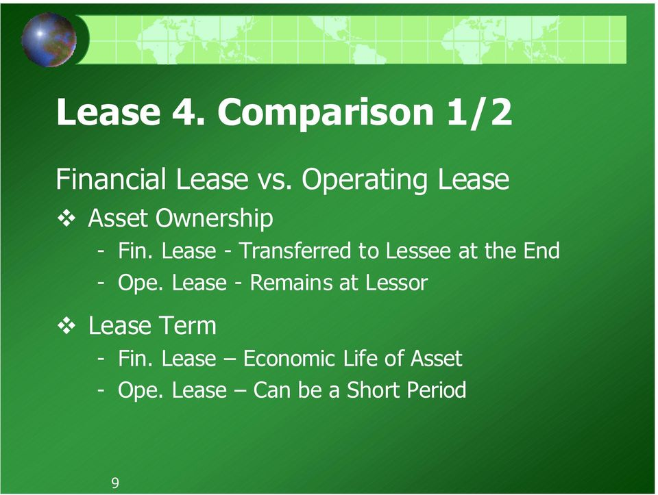 Lease - Transferred to Lessee at the End - Ope.