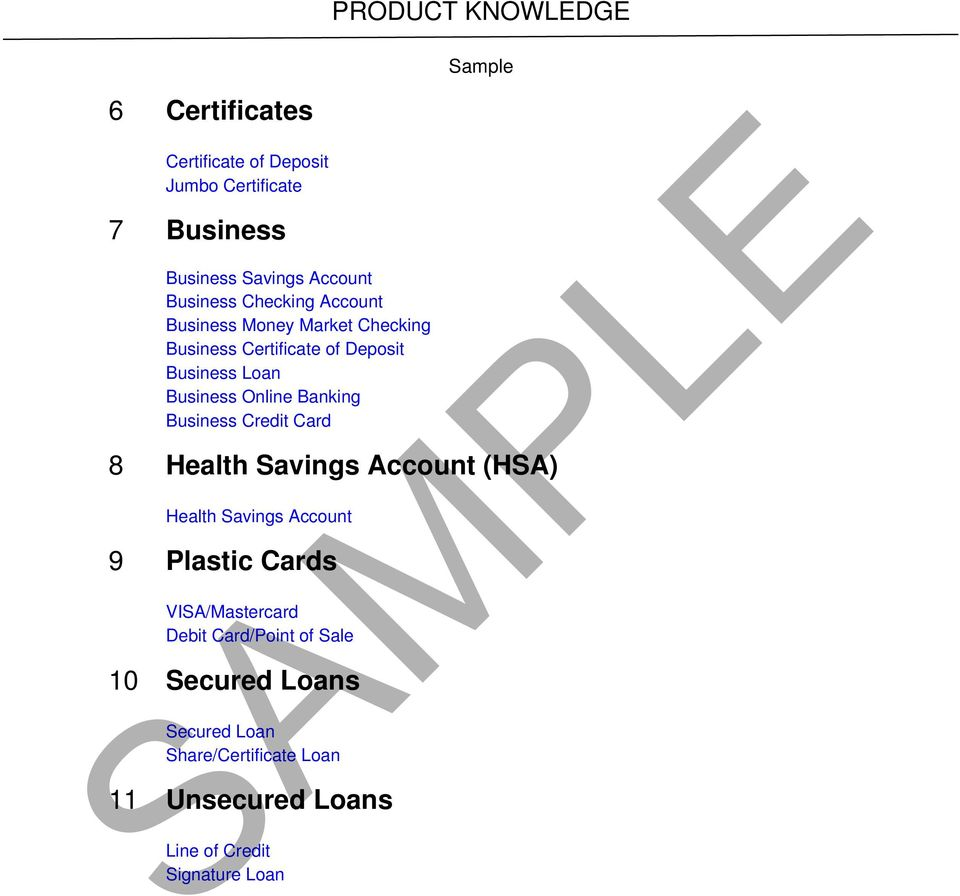 Business Credit Card PRODUCT KNOWLEDGE 8 Health (HSA) Health 9 Plastic Cards VISA/Mastercard Debit