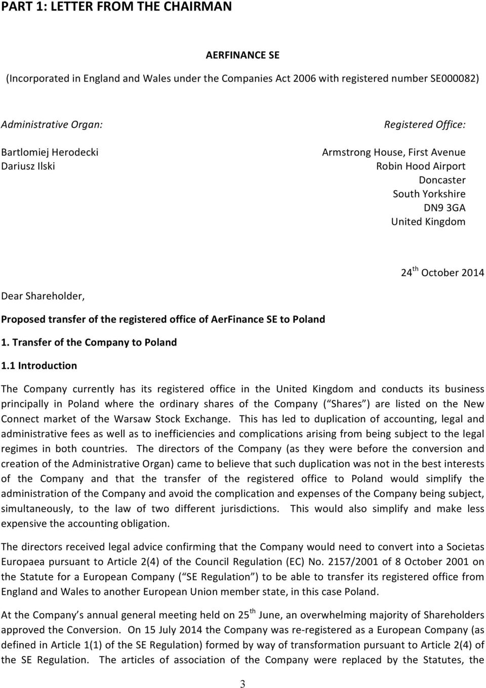 office of AerFinance SE to Poland 1. Transfer of the Company to Poland 1.
