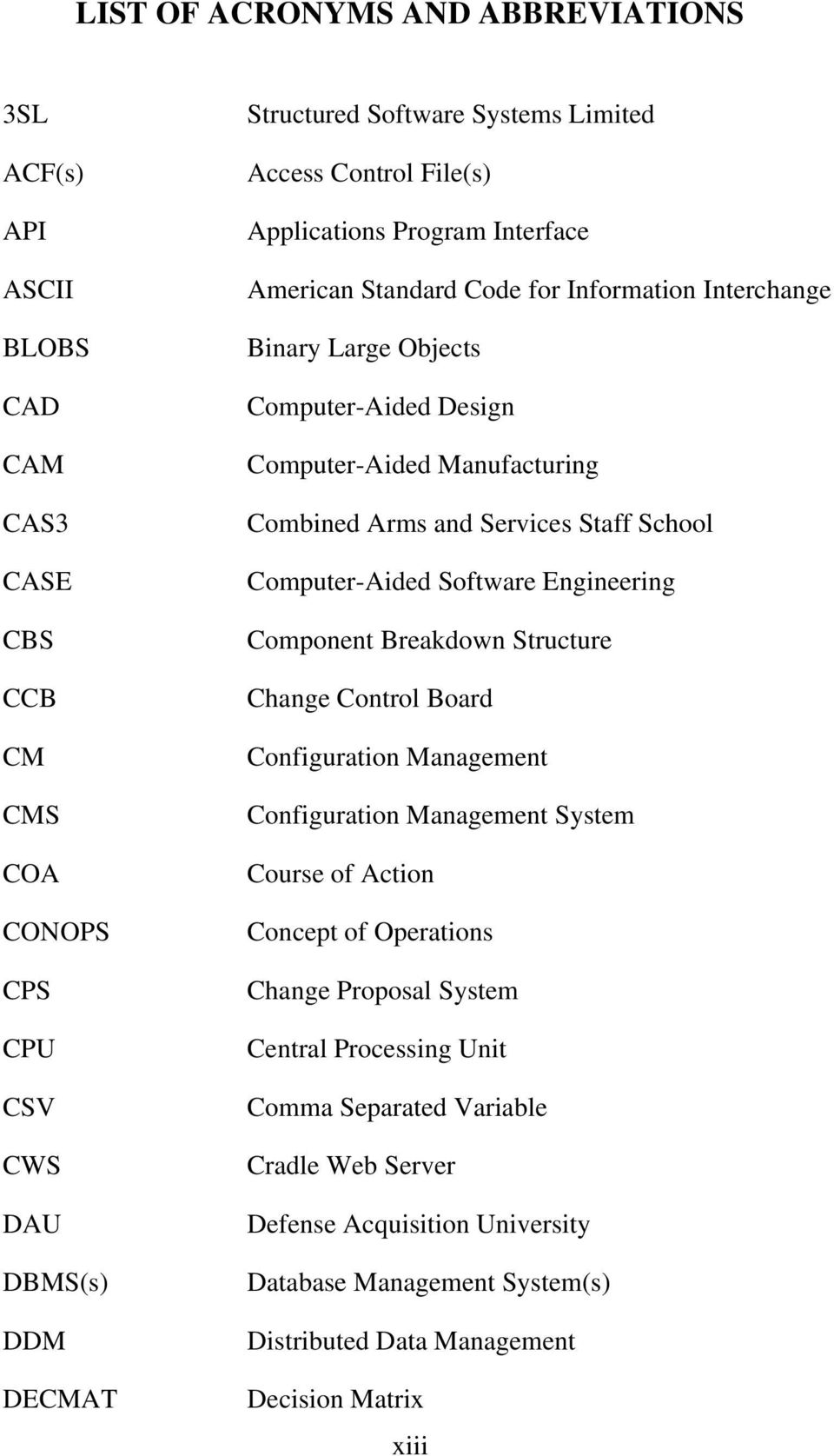 Services Staff School Computer-Aided Software Engineering Component Breakdown Structure Change Control Board Configuration Management Configuration Management System Course of Action Concept of