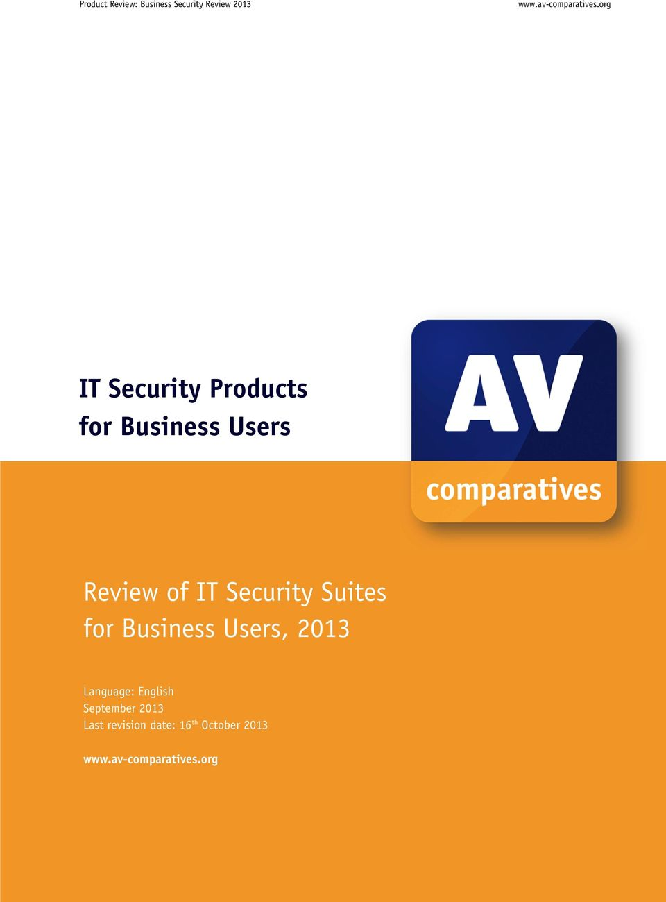 Security Suites for Business Users, 2013 Language: