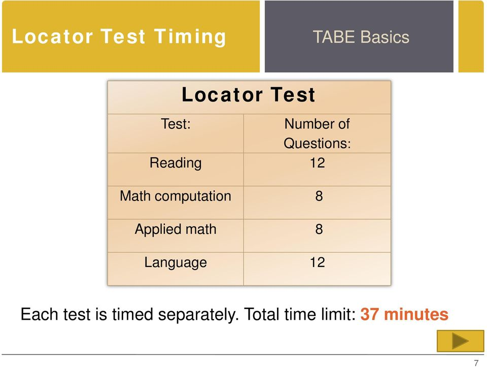 Tests of adult basic education consider