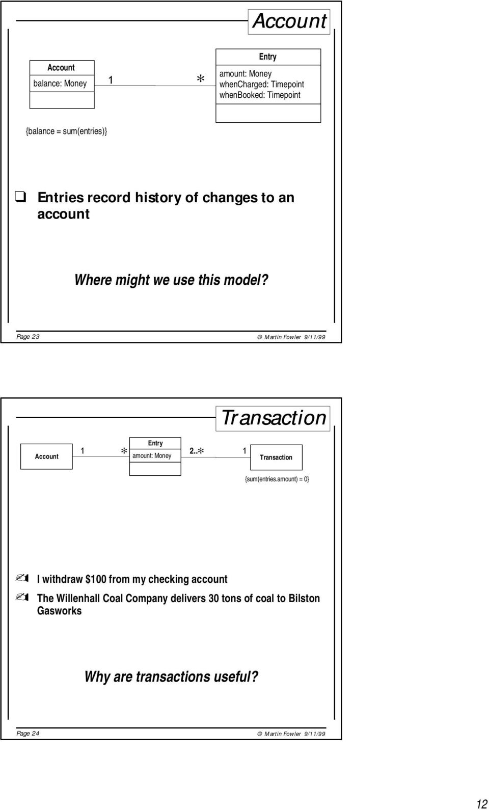 Page 23 Martin Fowler 9//99 Transaction Account Entry amount: Money 2.. Transaction {sum(entries.