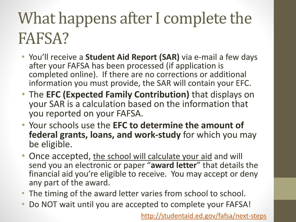 The EFC (Expected Family Contribution) that displays on your SAR is a calculation based on the information that you reported on your FAFSA.