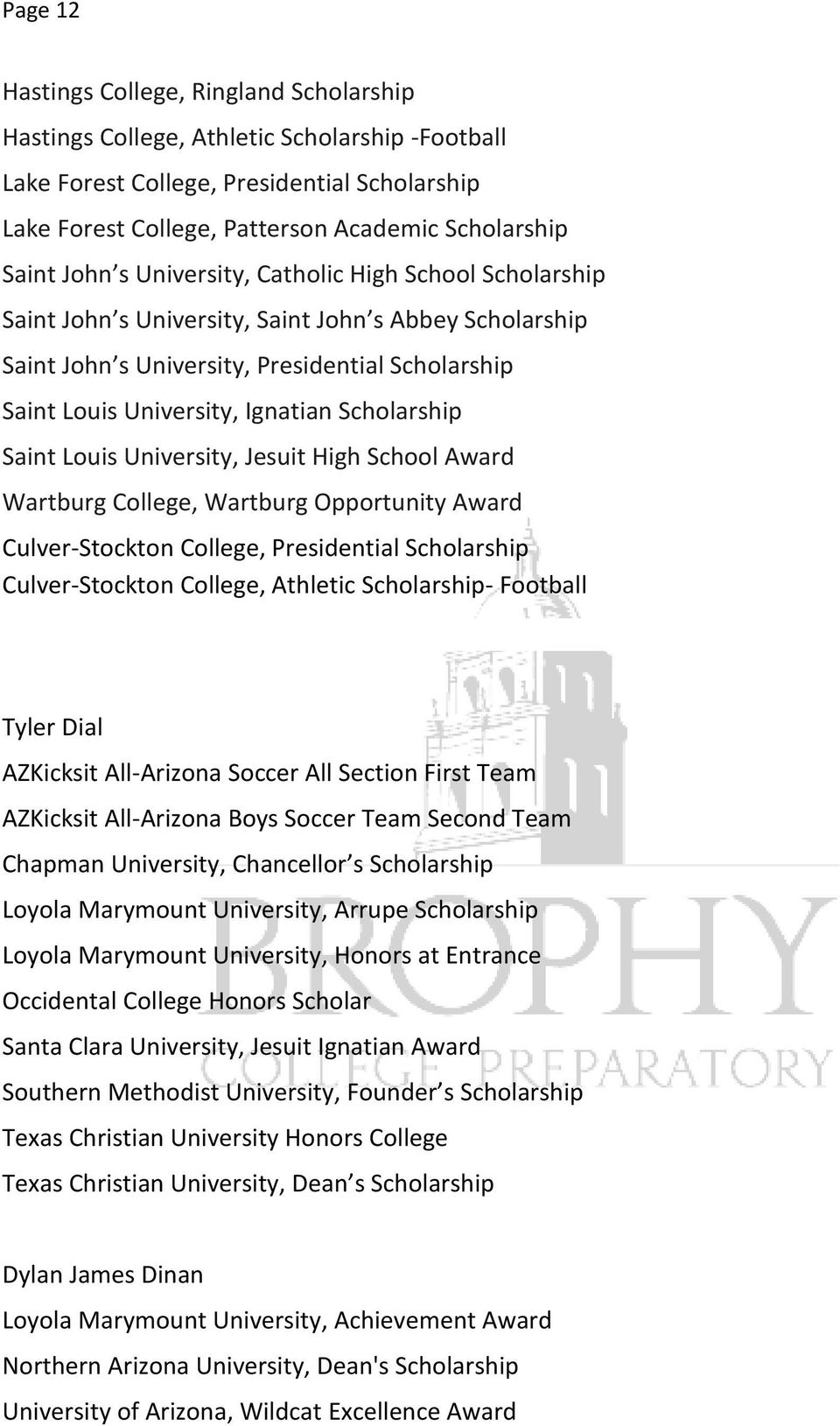 Scholarship Saint Louis University, Jesuit High School Award Wartburg College, Wartburg Opportunity Award Culver-Stockton College, Presidential Scholarship Culver-Stockton College, Athletic