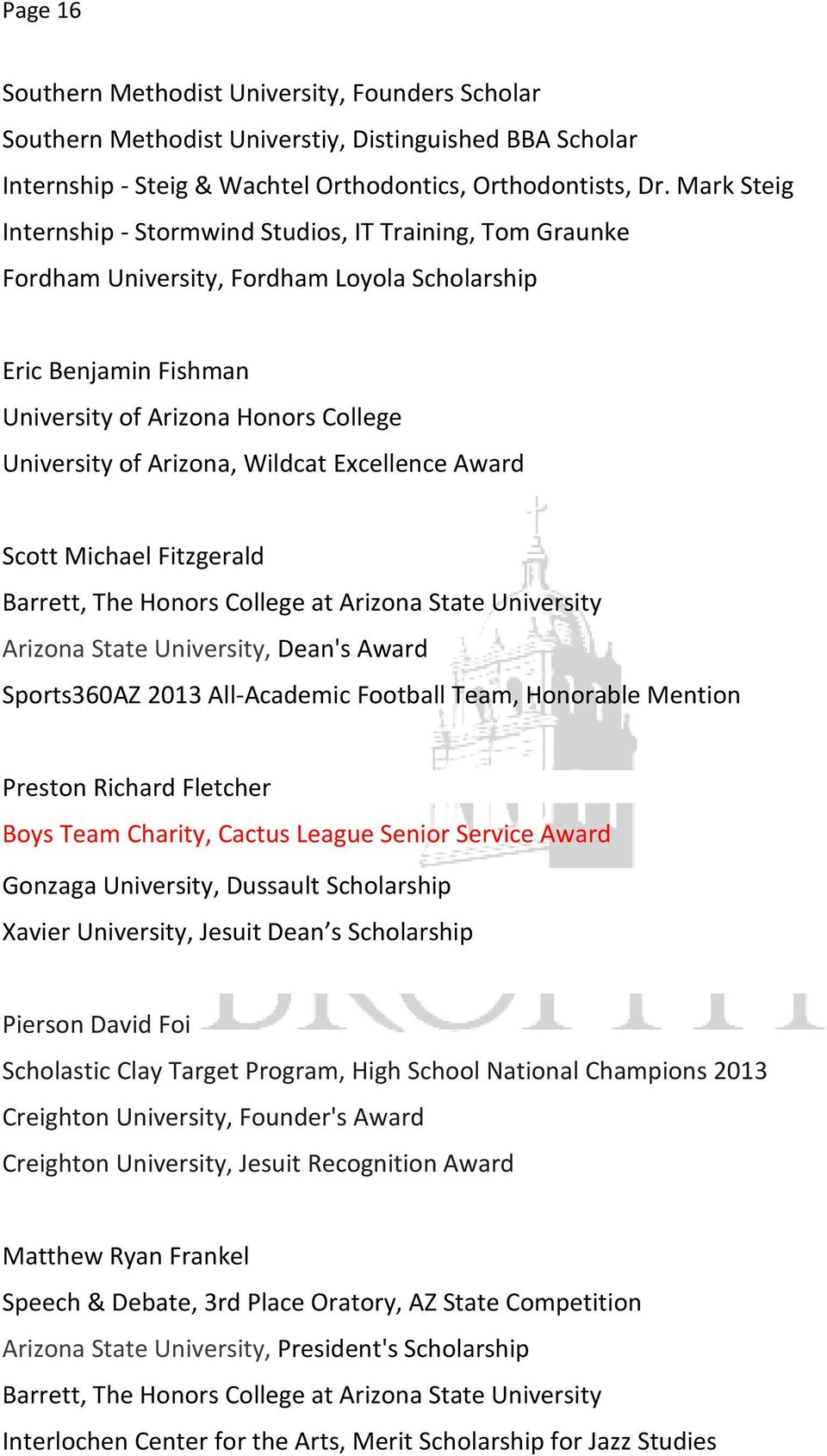 Award Sports360AZ 2013 All-Academic Football Team, Honorable Mention Preston Richard Fletcher Boys Team Charity, Cactus League Senior Service Award Gonzaga University, Dussault Scholarship Xavier