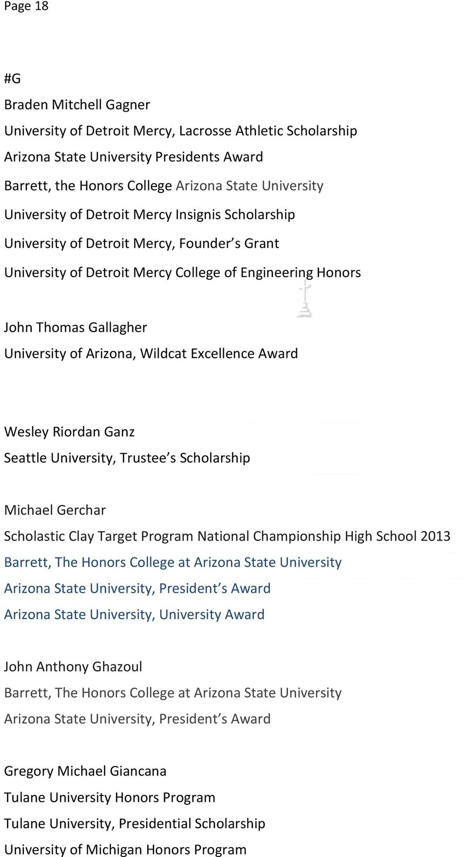 University, Trustee s Scholarship Michael Gerchar Scholastic Clay Target Program National Championship High School 2013 Arizona State University, President s Award Arizona State University,