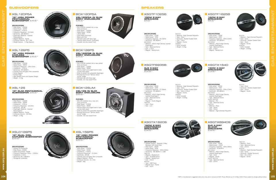 Enclosure Volume : 81.7 litre Weight Approx. : 4.2kg (Approx) XSL126P5 12 high power CAPLESS SUBWOOFER $199.