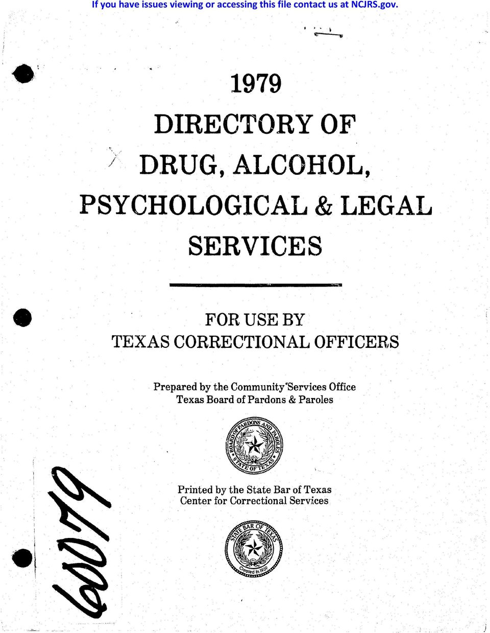 .. FOR USE BY TEXAS CORRECTIONAL OFFICER,S Prepared by the Community'Services Office