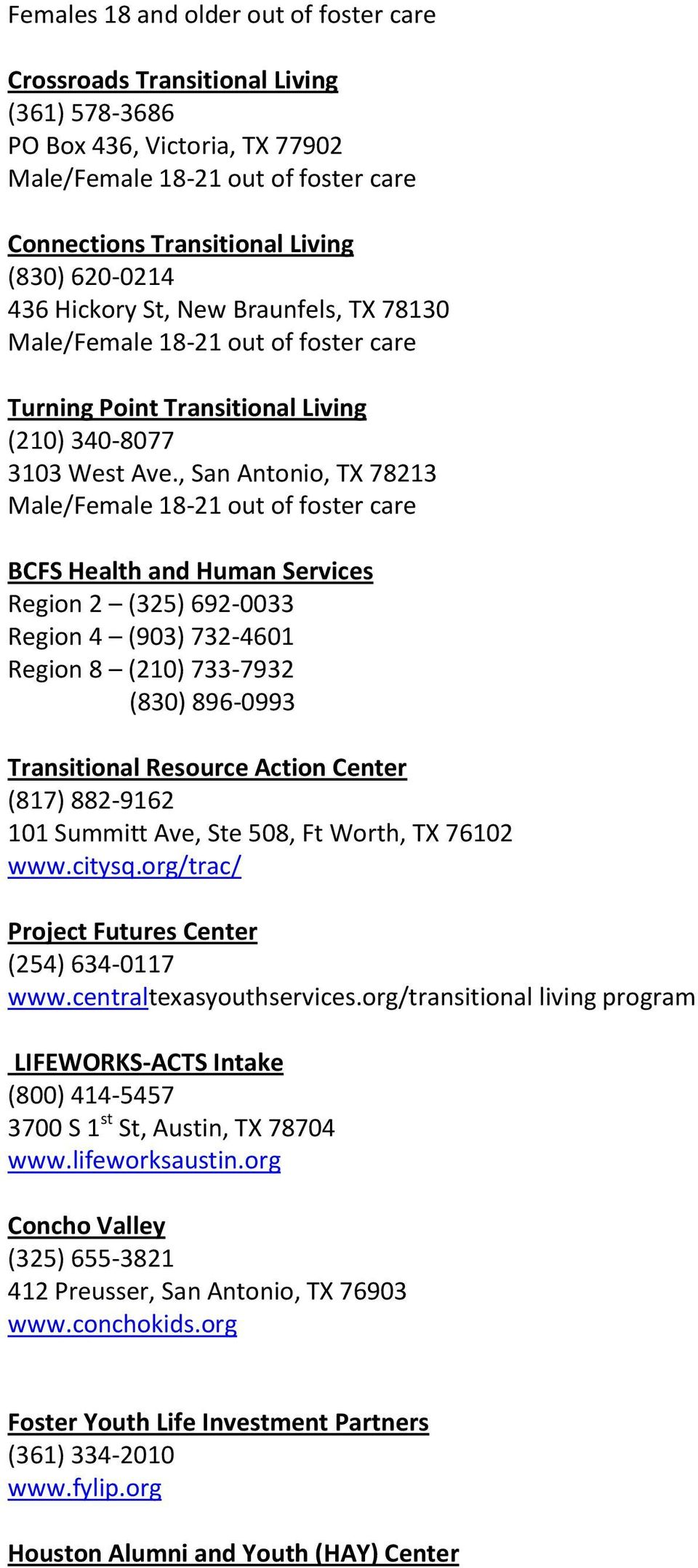 , San Antonio, TX 78213 Male/Female 18-21 out of foster care BCFS Health and Human Services Region 2 (325) 692-0033 Region 4 (903) 732-4601 Region 8 (210) 733-7932 (830) 896-0993 Transitional