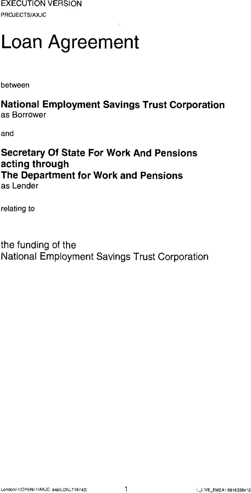 For Work And Pensions acting through The Department for Work and Pensions
